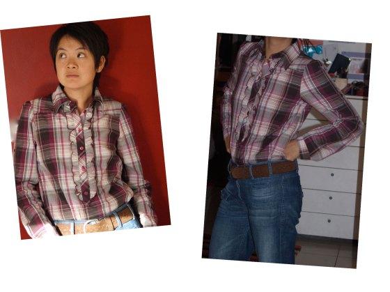 Chemise Naf-naf, jeans Sandro, ceinture Gap