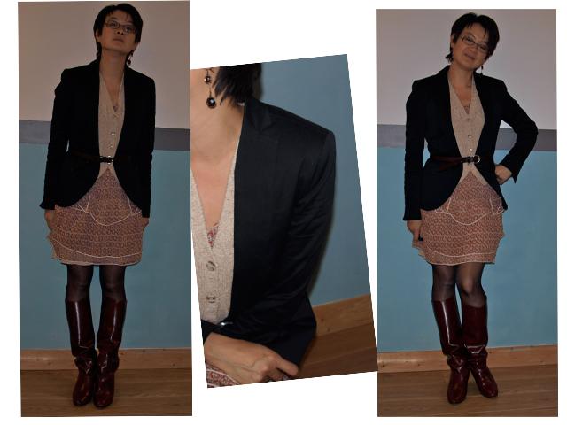 Robe en soie Iro, blazer noir Zara (collection actuelle), gilet en laine  sans manche Naf-Naf (vieux, très vieux   au moins 1998), 26058bbd7853